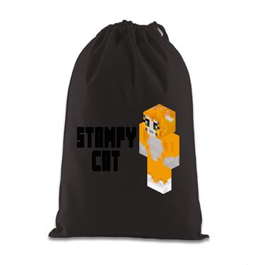 Picture of Stampy Cat Player Skin 3D Standing Left Pose And Black Text Gift Bag