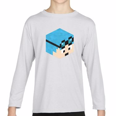 Picture of Dantdm Dan The Diamond Minecart Blue Hair Player Skin 3D Head Right Pose Girls Long Sleeve Tshirt