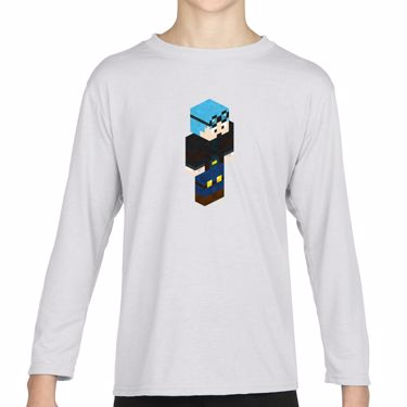 Picture of Dantdm Dan The Diamond Minecart Blue Hair Player Skin 3D Standing Right Pose Girls Long Sleeve Tshirt