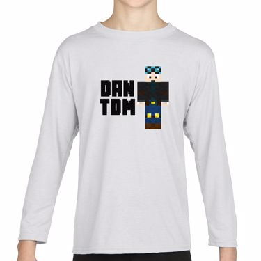 Picture of Dantdm Dan The Diamond Minecart Blue Hair Player Skin Standing Pose And Black Text Girls Long Sleeve Tshirt