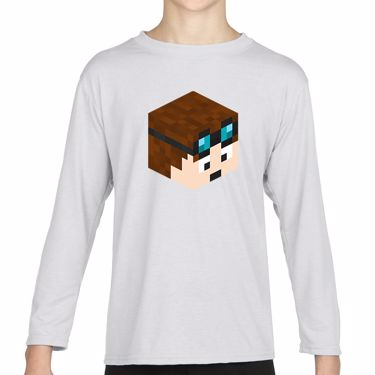Picture of Dantdm Dan The Diamond Minecart Player Skin 3D Head Right Pose Girls Long Sleeve Tshirt