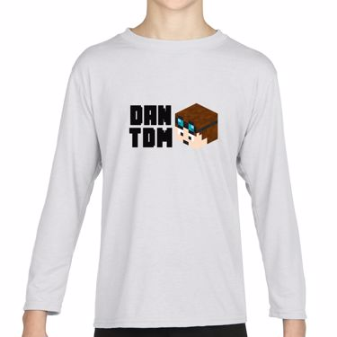 Picture of Dantdm Dan The Diamond Minecart Player Skin 3D Head Left Pose And Black Text Girls Long Sleeve Tshirt