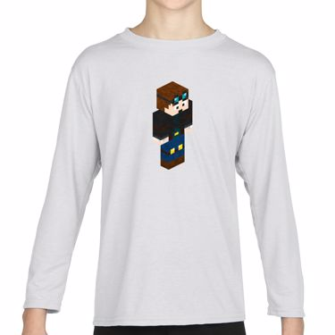 Picture of Dantdm Dan The Diamond Minecart Player Skin 3D Standing Right Pose Girls Long Sleeve Tshirt