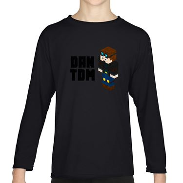 Picture of Dantdm Dan The Diamond Minecart Player Skin 3D Standing Left Pose And Black Text Girls Long Sleeve Tshirt