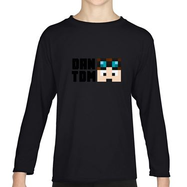 Picture of Dantdm Dan The Diamond Minecart Player Skin Face And Black Text Girls Long Sleeve Tshirt