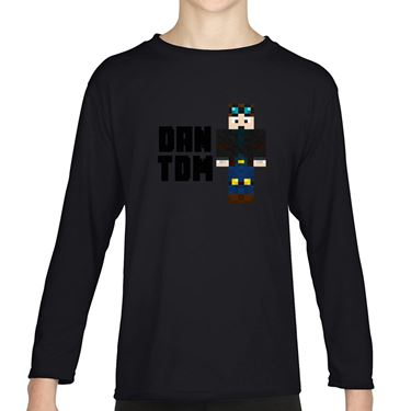 Picture of Dantdm Dan The Diamond Minecart Player Skin Standing Pose And Black Text Girls Long Sleeve Tshirt