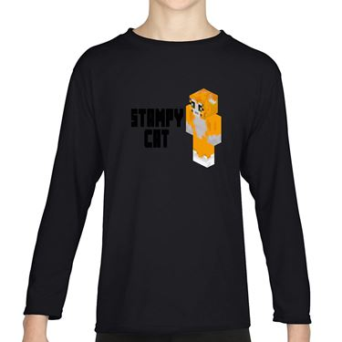 Picture of Stampy Cat Player Skin 3D Standing Left Pose And Black Text Girls Long Sleeve Tshirt
