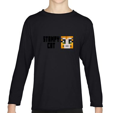 Picture of Stampy Cat Player Skin Face And Black Text Girls Long Sleeve Tshirt