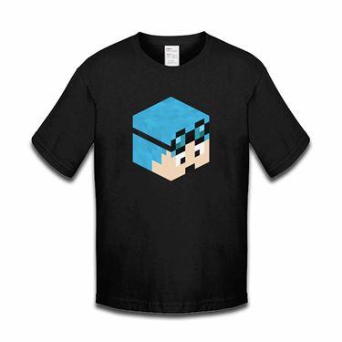 Picture of Dantdm Dan The Diamond Minecart Blue Hair Player Skin 3D Head Right Pose Girls Tshirt
