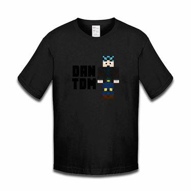 Picture of Dantdm Dan The Diamond Minecart Blue Hair Player Skin Standing Pose And Black Text Girls Tshirt