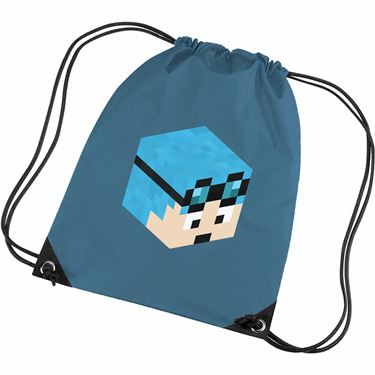 Picture of Dantdm Dan The Diamond Minecart Blue Hair Player Skin 3D Head Right Pose Gym Bag