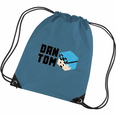 Picture of Dantdm Dan The Diamond Minecart Blue Hair Player Skin 3D Head Left Pose And Black Text Gym Bag