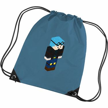 Picture of Dantdm Dan The Diamond Minecart Blue Hair Player Skin 3D Standing Right Pose Gym Bag