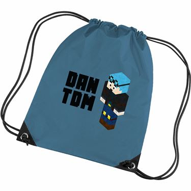 Picture of Dantdm Dan The Diamond Minecart Blue Hair Player Skin 3D Standing Left Pose And Black Text Gym Bag