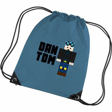 Picture of Dantdm Dan The Diamond Minecart Blue Hair Player Skin Standing Pose And Black Text Gym Bag