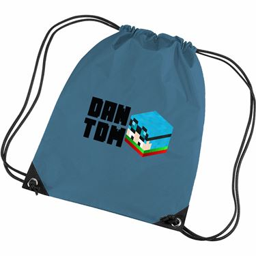 Picture of Dantdm Dan The Diamond Minecart Christmas Player Skin 3D Head Left Pose And Black Text Gym Bag