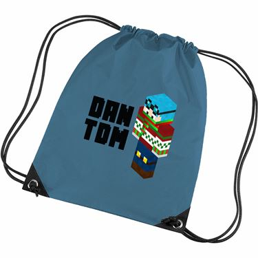 Picture of Dantdm Dan The Diamond Minecart Christmas Player Skin 3D Standing Left Pose And Black Text Gym Bag