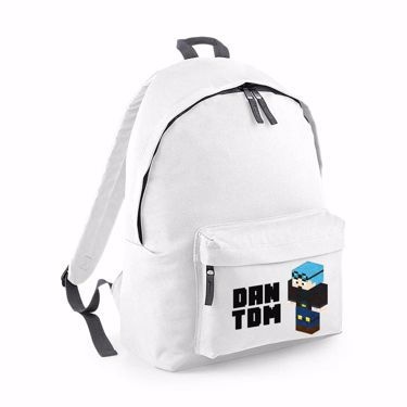 Picture of Dantdm Dan The Diamond Minecart Blue Hair Player Skin 3D Standing Left Pose And Black Text Junior Backpack