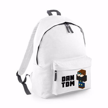 Picture of Dantdm Dan The Diamond Minecart Player Skin 3D Standing Left Pose And Black Text Junior Backpack
