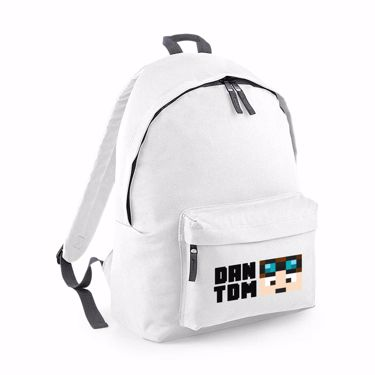 Picture of Dantdm Dan The Diamond Minecart Player Skin Face And Black Text Junior Backpack