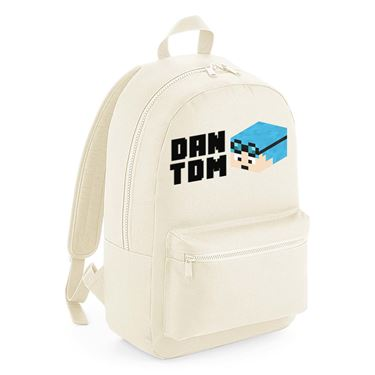 Picture of Dantdm Dan The Diamond Minecart Blue Hair Player Skin 3D Head Left Pose And Black Text Kids Backpack