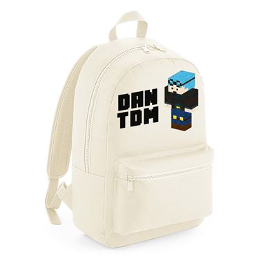 Picture of Dantdm Dan The Diamond Minecart Blue Hair Player Skin 3D Standing Left Pose And Black Text Kids Backpack