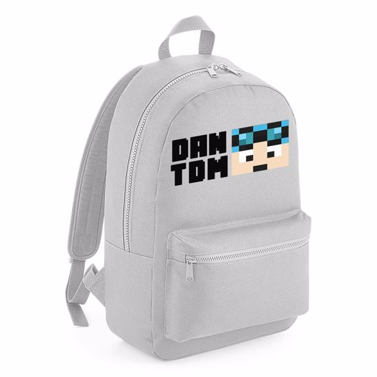 Picture of Dantdm Dan The Diamond Minecart Blue Hair Player Skin Face And Black Text Kids Backpack