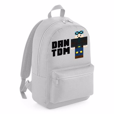 Picture of Dantdm Dan The Diamond Minecart Blue Hair Player Skin Standing Pose And Black Text Kids Backpack
