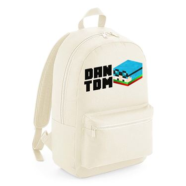 Picture of Dantdm Dan The Diamond Minecart Christmas Player Skin 3D Head Left Pose And Black Text Kids Backpack
