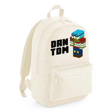 Picture of Dantdm Dan The Diamond Minecart Christmas Player Skin 3D Standing Left Pose And Black Text Kids Backpack