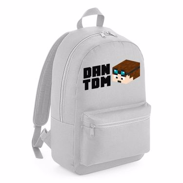 Picture of Dantdm Dan The Diamond Minecart Player Skin 3D Head Left Pose And Black Text Kids Backpack