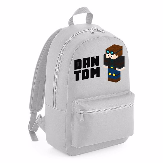 Picture of Dantdm Dan The Diamond Minecart Player Skin 3D Standing Left Pose And Black Text Kids Backpack