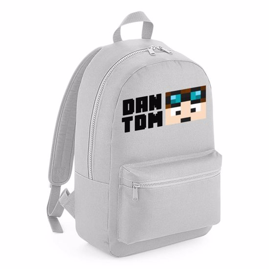 Picture of Dantdm Dan The Diamond Minecart Player Skin Face And Black Text Kids Backpack