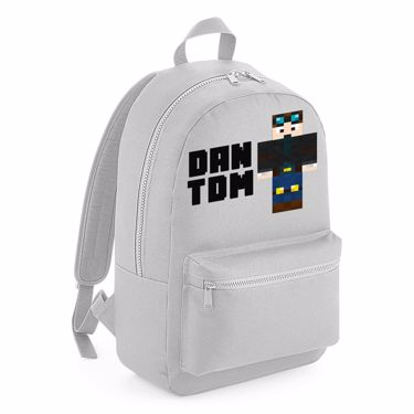 Picture of Dantdm Dan The Diamond Minecart Player Skin Standing Pose And Black Text Kids Backpack