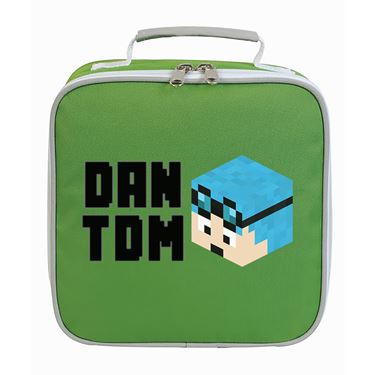 Picture of Dantdm Dan The Diamond Minecart Blue Hair Player Skin 3D Head Left Pose And Black Text Lunch Bag