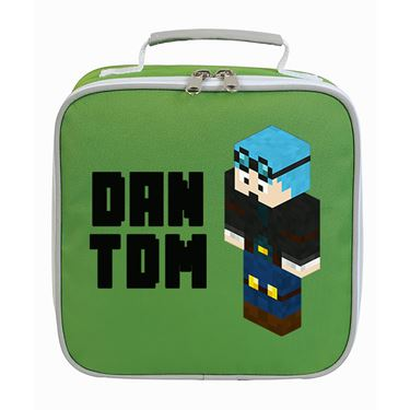 Picture of Dantdm Dan The Diamond Minecart Blue Hair Player Skin 3D Standing Left Pose And Black Text Lunch Bag
