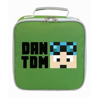 Picture of Dantdm Dan The Diamond Minecart Blue Hair Player Skin Face And Black Text Lunch Bag