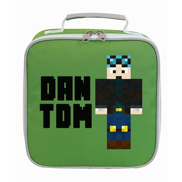 Picture of Dantdm Dan The Diamond Minecart Blue Hair Player Skin Standing Pose And Black Text Lunch Bag