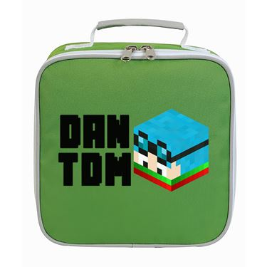 Picture of Dantdm Dan The Diamond Minecart Christmas Player Skin 3D Head Left Pose And Black Text Lunch Bag
