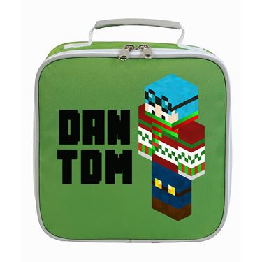 Picture of Dantdm Dan The Diamond Minecart Christmas Player Skin 3D Standing Left Pose And Black Text Lunch Bag