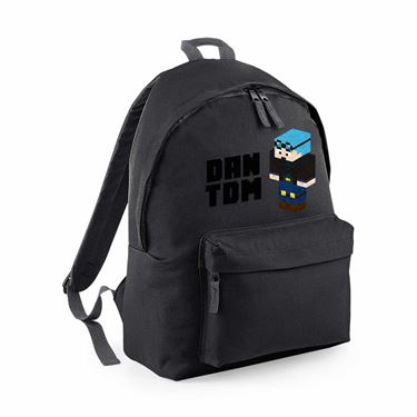 Picture of Dantdm Dan The Diamond Minecart Blue Hair Player Skin 3D Standing Left Pose And Black Text Maxi Backpack