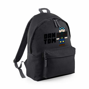 Picture of Dantdm Dan The Diamond Minecart Blue Hair Player Skin Standing Pose And Black Text Maxi Backpack