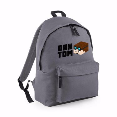 Picture of Dantdm Dan The Diamond Minecart Player Skin 3D Head Left Pose And Black Text Maxi Backpack