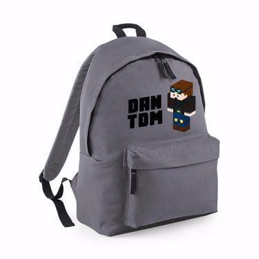 Picture of Dantdm Dan The Diamond Minecart Player Skin 3D Standing Left Pose And Black Text Maxi Backpack