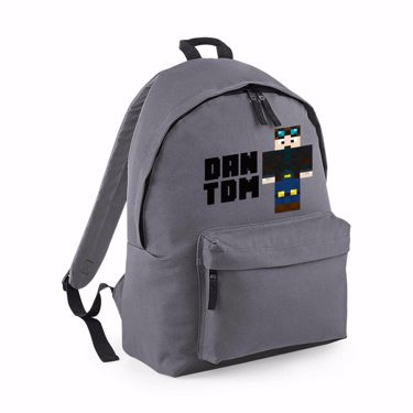 Picture of Dantdm Dan The Diamond Minecart Player Skin Standing Pose And Black Text Maxi Backpack