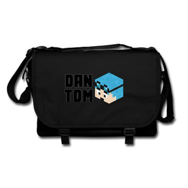 Picture of Dantdm Dan The Diamond Minecart Blue Hair Player Skin 3D Head Left Pose And Black Text Messenger Bag