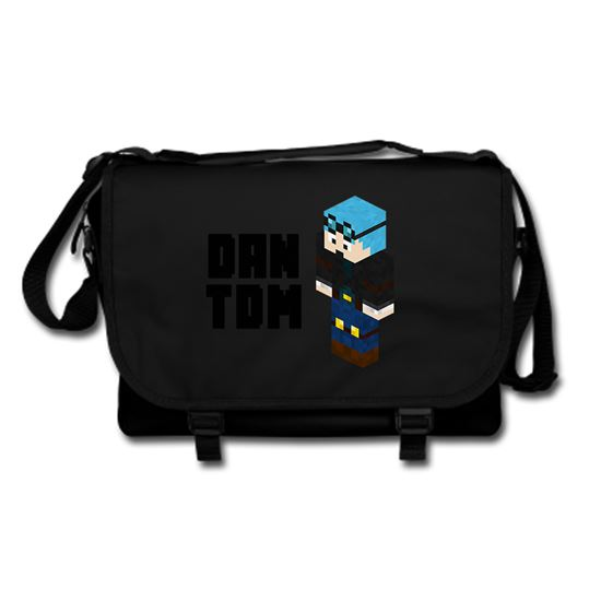 Picture of Dantdm Dan The Diamond Minecart Blue Hair Player Skin 3D Standing Left Pose And Black Text Messenger Bag