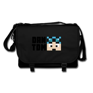 Picture of Dantdm Dan The Diamond Minecart Blue Hair Player Skin Face And Black Text Messenger Bag