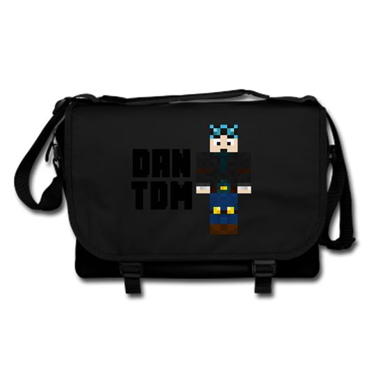 Picture of Dantdm Dan The Diamond Minecart Blue Hair Player Skin Standing Pose And Black Text Messenger Bag
