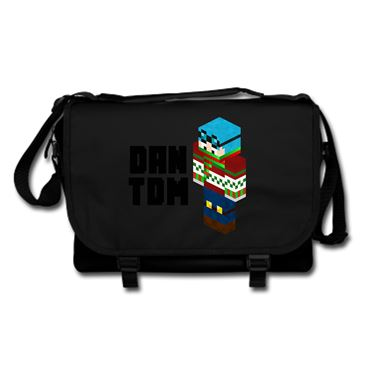 Picture of Dantdm Dan The Diamond Minecart Christmas Player Skin 3D Standing Left Pose And Black Text Messenger Bag